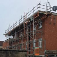 Scaffolding erected in Swindon to enable work on coping stones SSS
