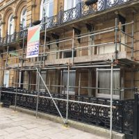 place access scaffold erected for stone repairs and window painting